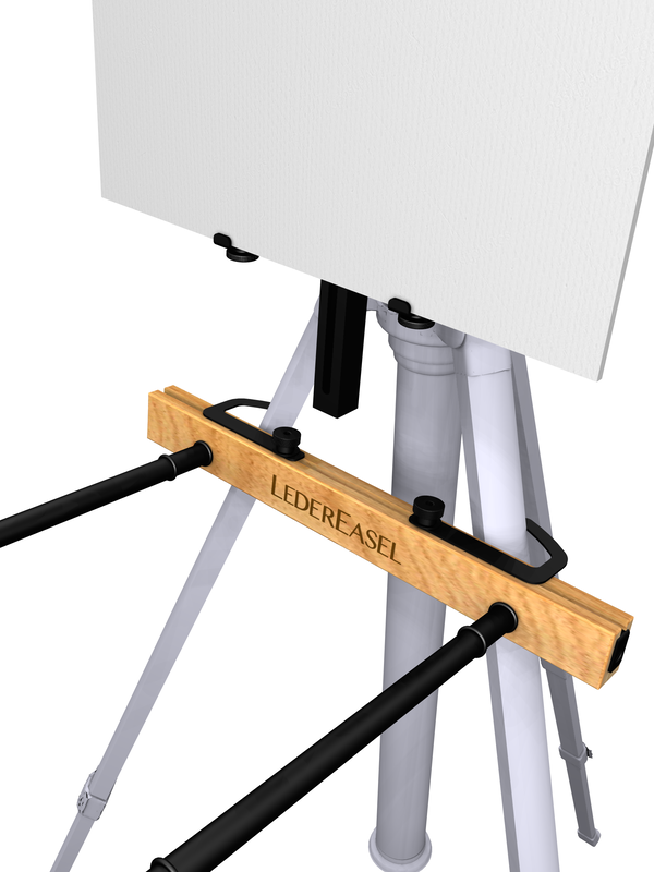 PALETTE HOLDER ATTACHED TO TRIPOD LEGS